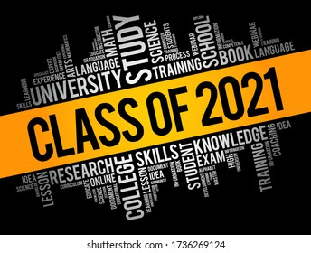 CLASS OF 2021 word cloud collage, education concept background