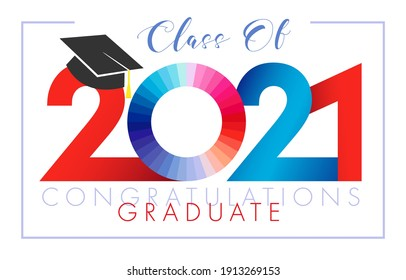 Class of 2021 year graduation banner. Class off happy holiday invitation card. Red and blue digits, zero sign. Isolated abstract graphic design template. Brush stroke calligraphy. White background.