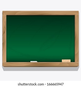 Class board with chalk vector. Eps 10.