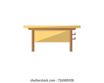 Class desk isolated icon in flat style. School classroom furniture element, house interior decoration vector illustration.