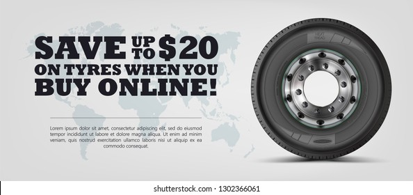 Class eight semi truck wheel.  Realistic vector shining disk. Banner. Promo. Information. Store. Sale. Mock-up. Travel. Global trade. Texture.