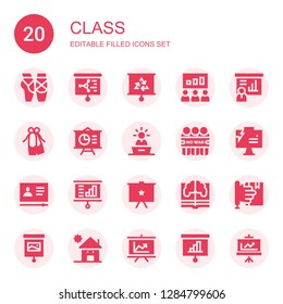 class icon set. Collection of 20 filled class icons included Ballet, Presentation, Demonstration, Tutorial, Learning, Kindergarden