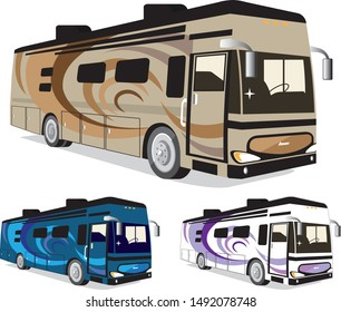 Class A large RV vehicle 3 colors