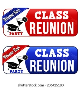 Class reunion banners on white background, vector illustration