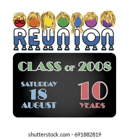 Class reunion logo isolated rainbow color on white background, a vector illustration.