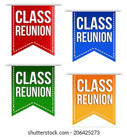Class reunion ribbons set in different colours on white, vector illustration