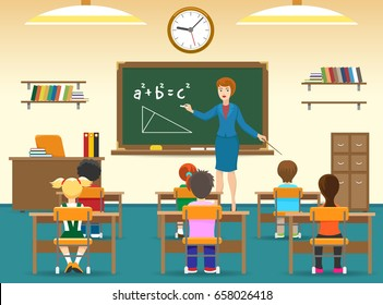 Class room with board, young female teacher, elementary school little boys and girls. Kids sitting in classroom vector illustration