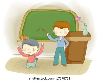 Class Room with a Sad little Child : vector illustration