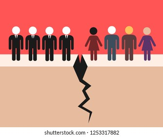 Class struggle, warfare and conflict between people and upper class - polticians, businessmen, rich people. Social gap in the disintegrated society. Vector illustration