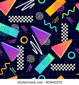 Classic 1980's seamless pattern. Vector illustration.