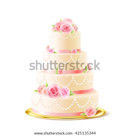 Classic 3 Tiered Delicious Wedding Cake Image Vectorielle De Stock
