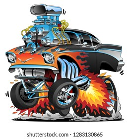 Classic 57 hot rod gasser, dragster, muscle car, red hot flames, big engine, wheelie and lots of chrome, cartoon vector illustration