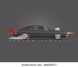 Classic 70s muscle car. High detailed vector illustration.