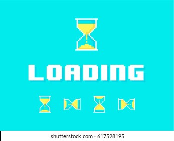 Classic 8-bit loading screen and yellow sand hourglass with blue background.