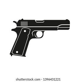 Classic 9mm pistol vector illustration. Legendary armament.