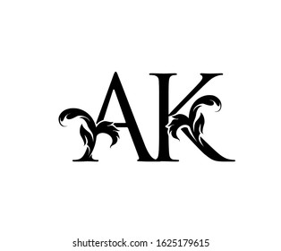 Classic A, K and AK Letter Logo Icon