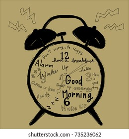 Classic alarm clock ringing with greeting messages on clock face such as have a good day, good morning, hello, howdy. Wake up messages included. Vector illustration with hand-drawn style.