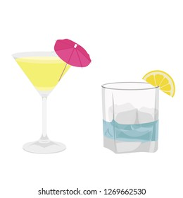 Classic alcohol cocktail drinks isolated on white. Vector illustration. Kamikaze and Gin Tonic cocktail