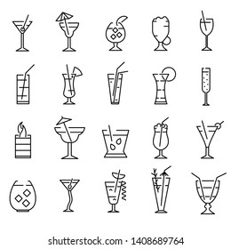 Classic Alcoholic Cocktails Signs Black Thin Line Icon Set Include of Mojito, Margarita and Cosmopolitan. Vector illustration of Icons