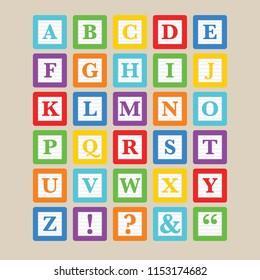 Classic alphabet block toys in vector format.