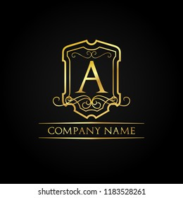 Classic Alphabet Letter A Gold Luxury Premium Logo Vector