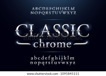 Classic alphabet silver metallic and effect designs. Exclusive silver letters typography regular font vintage and retro concept. vector illustrator