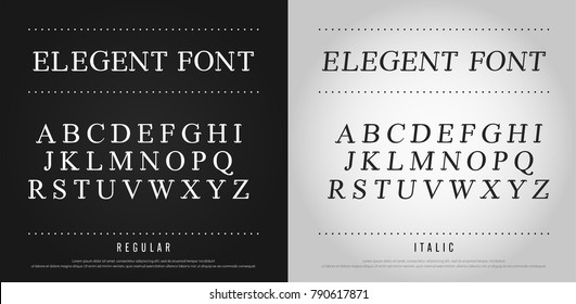 classic alphabet Uppercase letters typography set. Exclusive Custom Letters. alphabet designs for logo, Poster, Invitation, etc. Typography font classic style, regular and italic vector illustrator