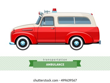 Classic ambulance wagon side view. Van vector isolated illustration
