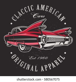 Classic american car on black background. Text is on the separate layer.