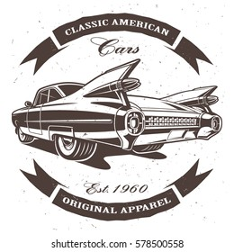 Classic american car on white background. Text is on the separate layer