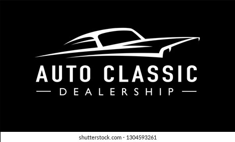 Classic American concept style sports muscle car dealership logo. Retro style V8 auto garage vehicle silhouette icon. Vector illustration.