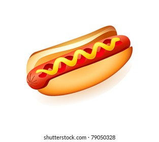 Classic american fast food - sausage with mustard and ketchup
