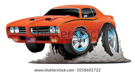 Classic American Muscle Car Cartoon Vector Stock Vector Royalty