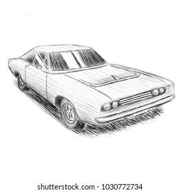 Classic american muscle car hand drawn vector illustration. Powerfull vintage automobile. Legend car pencil skech