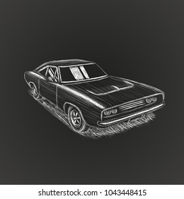 Classic american muscle car hand drawn vector illustration. Powerfull vintage automobile. Legend car chalk skech