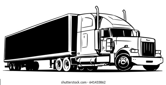 Classic American semi truck with a trailer. Black and white illustration