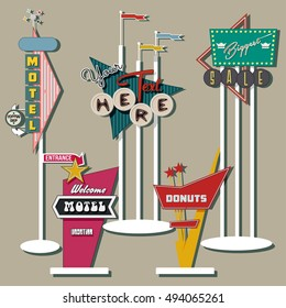 Classic American Signboards Set Middle Century Age Googie Populuxe Architecture Style Retro Vintage Collection Motel Donuts Shop Advertising Billboards Pointers