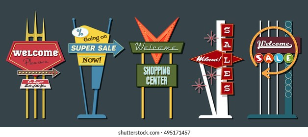 Classic American Signboards Set Middle Century Age Googie Populuxe Architecture Style Retro Vintage Collection Sale Motel Donuts Shop Advertising Billboards Pointers