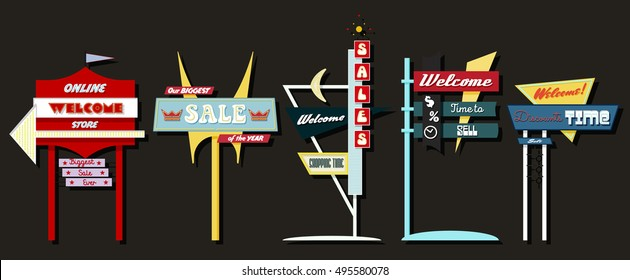 Classic American Signboards Set Middle Century Atomic Age Googie Populuxe Architecture Style Retro Vintage Collection Sale Motel Store Shop Advertising Billboards Pointers from the Fifties, Sixties
