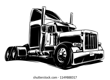 Classic American Truck black and white Illustration