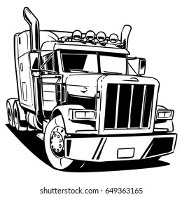 Classic American Truck. Black and white illustration