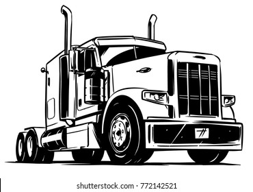 Classic American Truck. Black and white vector illustration