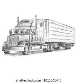 Classic american truck hand drawn vector illustration. Retro freighter truck.