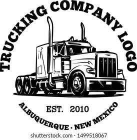 Classic American Truck. Trucking Company Logo Template