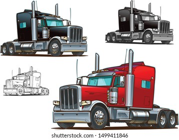 Classic American Truck. Vector illustration