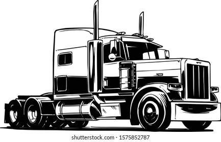Classic American Truck. Vector Illustration