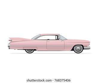 Classic American Vintage Pink Car. Vector Illustration.