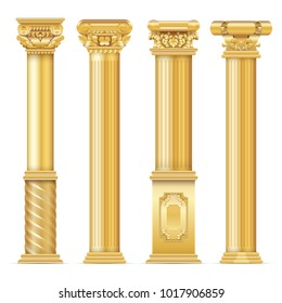 Classic antique gold columns vector set. Illustration of architecture column, architectural classic pillar