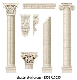 Classic antique marble columns in vector graphics and in different styles