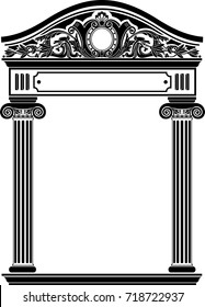Classic antique portal with columns in vector graphics